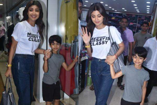 shilpa shetty spotted at juhu store with son viaan
