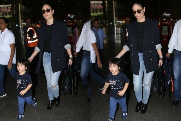 kareena kapoor spotted at airport with her son
