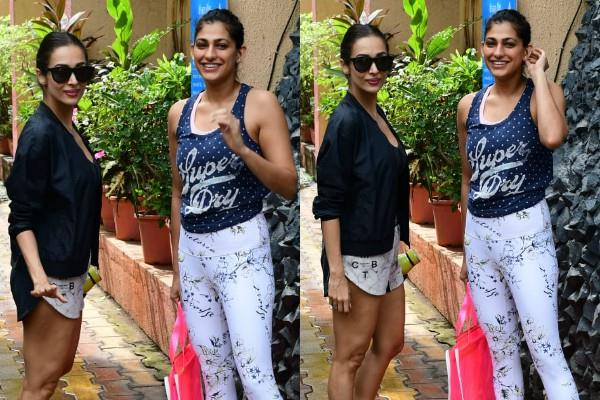 malaika arora and kubra sait looked outside the gym