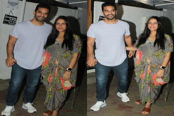 neha dhupia and angad bedi reached for dinner