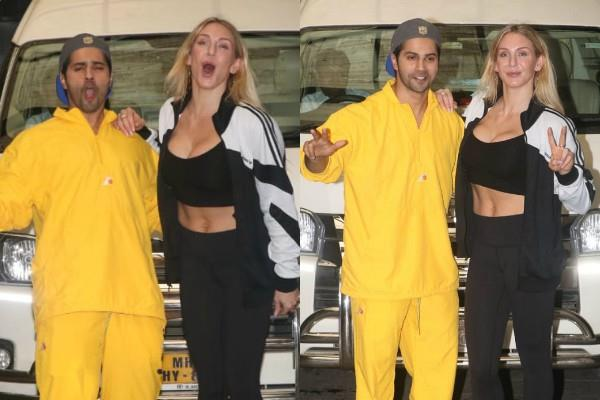varun dhawan looked outside at gym with wrestler charlotte flair spotted