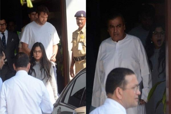 isha ambani spotted at airport with father mukesh ambani