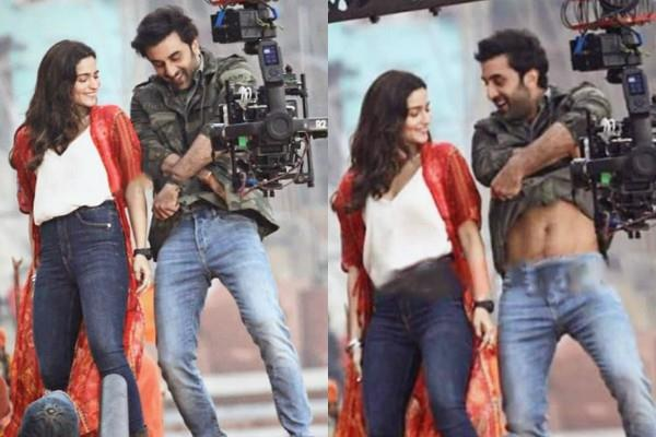 ranbir takes off his shirt front of alia during brahmastra song shooting