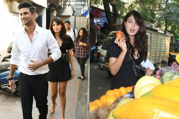rhea chakraborty purchasing fruits with rumoured boyfriend sushant