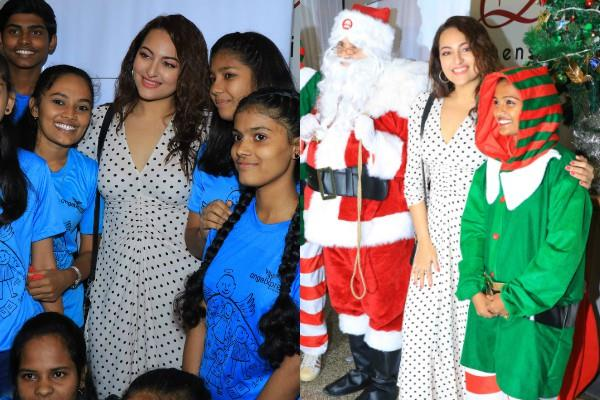 sonakshi sinha celebrated christmas with children