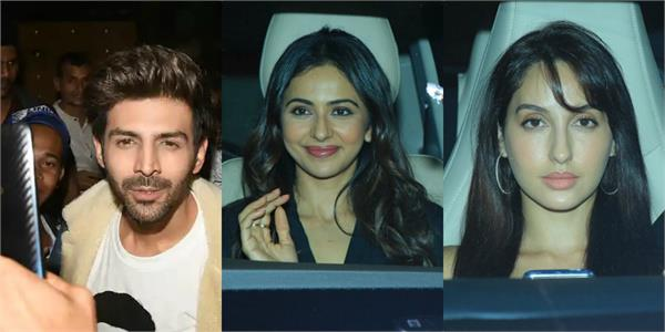 kartik ananya rakul and other stars attend pati patni aur woh screening