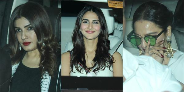 raveena rekha and others spotted at rani mukherjee daughter birthday party