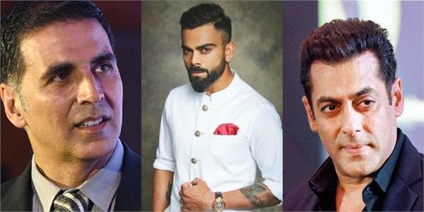 salman akshay kumar and virat kohli name in forbes india celebrity 100 list