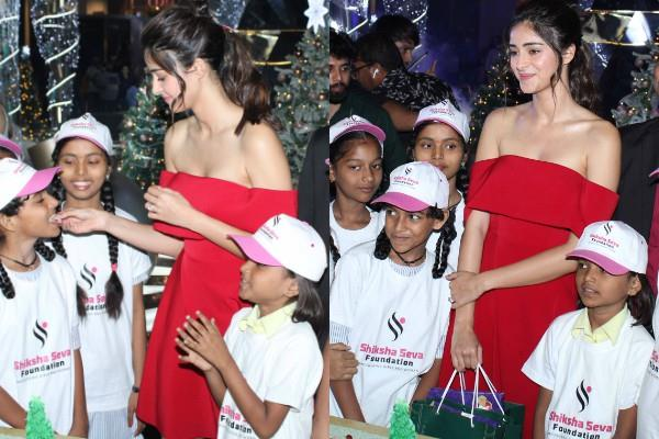 ananya pandey celebrating christmas with ngo kids