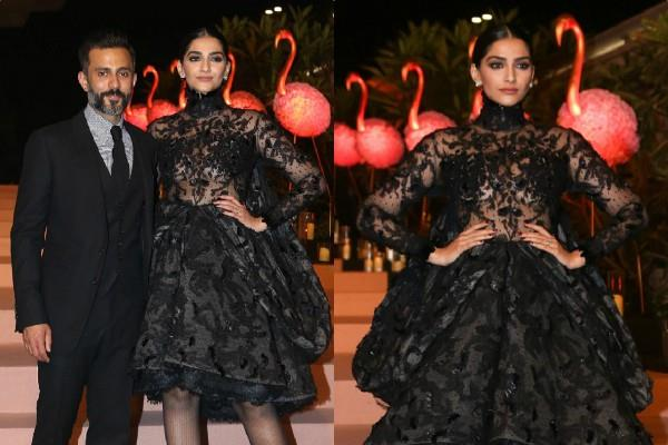 sonam kapoor looks bold as she attend party with husband anand ahuja