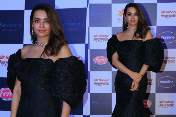surveen chawla looks glamorous in black gown
