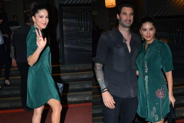 sunny leone spotted at restaurant with her husband