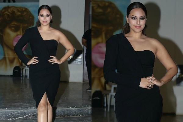 sonakshi sinha looks stunning in high slit figure hugging black dress