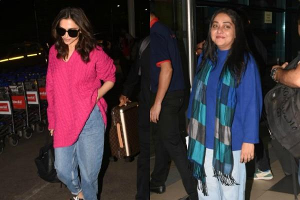 deepika padukone spotted at airport with meghna gulzar