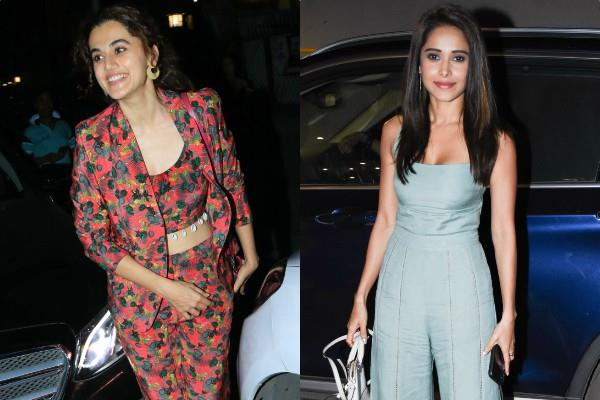 taapsee pannu and nushrat bharucha spotted at rohini iyer house party