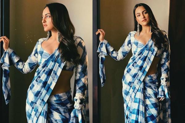 sonakshi sinha looks beautiful in designer masaba gupta saree