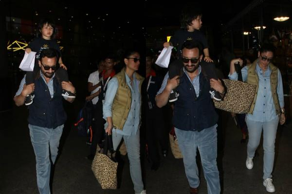 kareena kapoor spotted at airport with saif ali khan and taimur