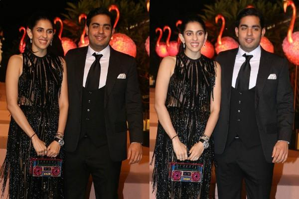 shloka mehta stylish appearance with akash ambani at party