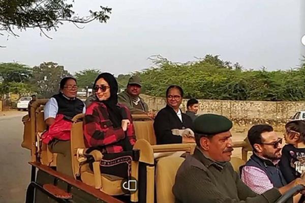 kareena kapoor saif ali khan sharmila tagore enjoy safari ride in ranthambore