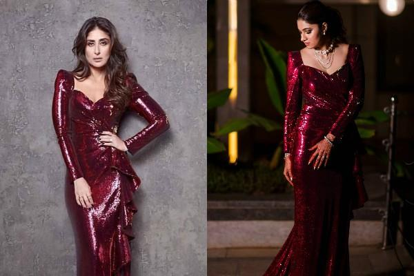 sania mirza sister anam reception outfit reminds kareena kapoor maroon dress