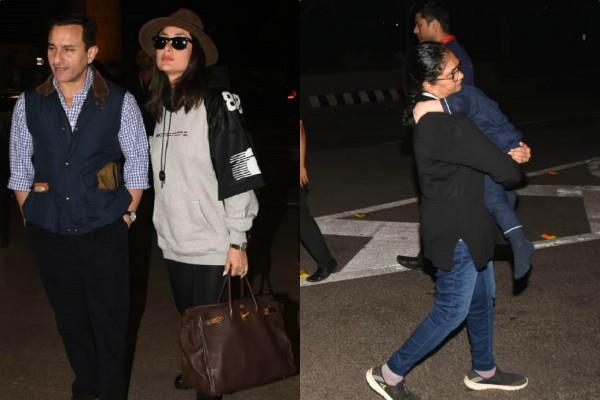 kareena saif leave for their new year celebration with taimur ali khan