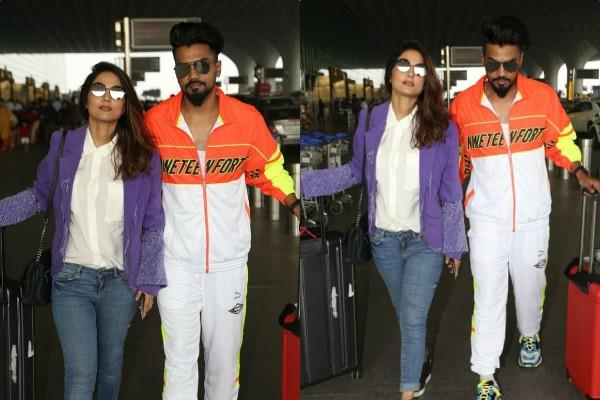 hina khan and rocky jaiswal stylish appearance at airport