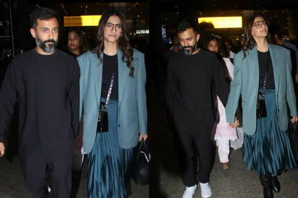 sonam kapoor anand ahuja stylish appearance at airport