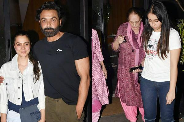 bobby deol dinner date with mother prakash kaur and wife tanya