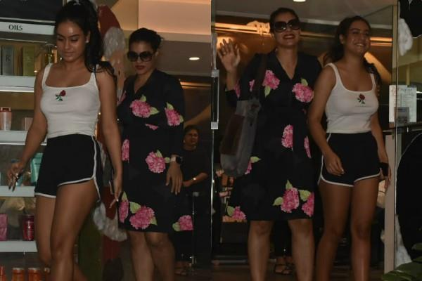 kajal spotted outside the salon with her daughter