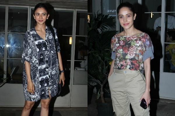 nushrat bharucha and rakul preet singh spotted at restaurant