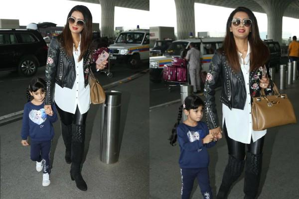 geeta basra spotted at airport with daughter hinaya heer plaha