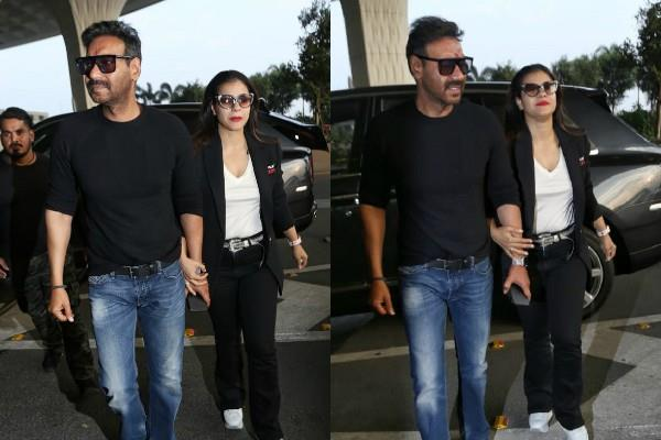 ajay devgn and kajol make a stylish appearance at airport