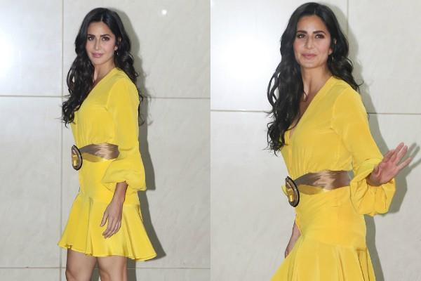 katrina kaif looks glamorous in yellow dress