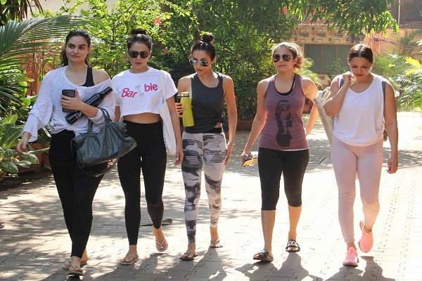 malaika amrita seema khan and others spotted outside the gym