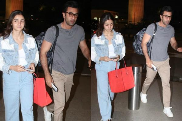 alia and ranbir kapoor spotted at airport