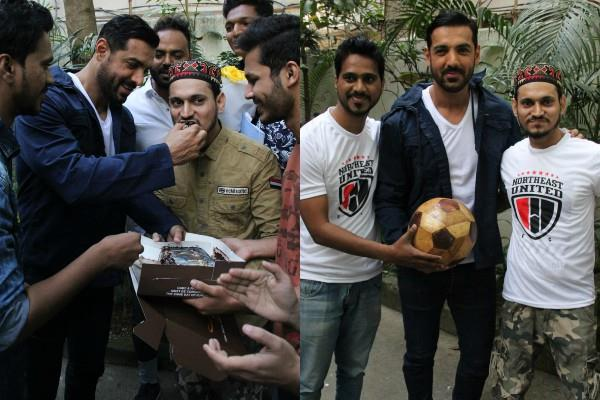 john abraham celebrate birthday with fans