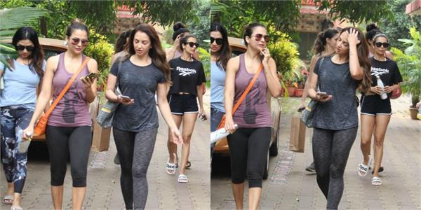 malaika amrita and seema khan looked outside the gym