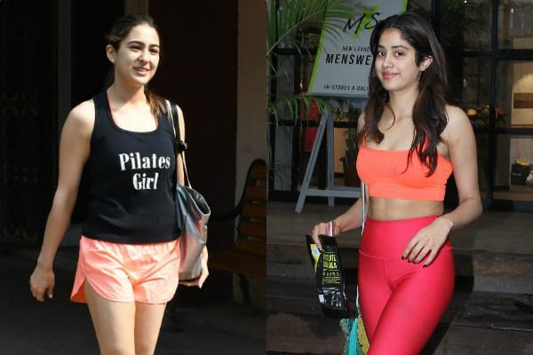 sara ali khan and janhvi kapoor looked outside the gym