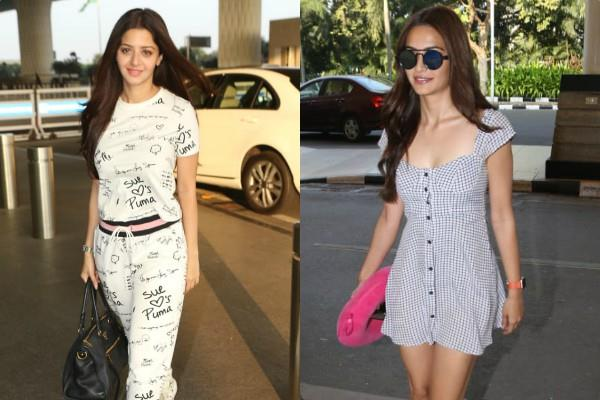 kriti kharbanda and vedhika kumar spotted at airport