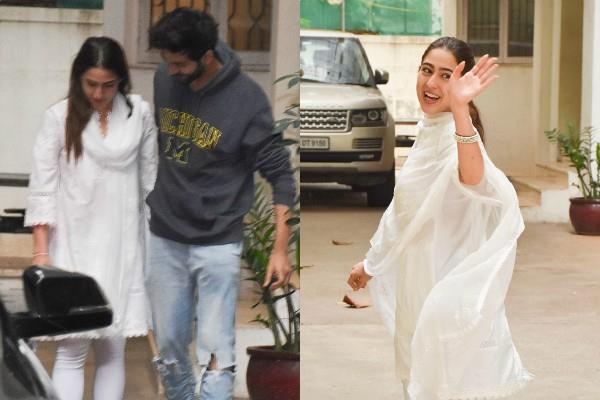 sara ali khan kartik aaryan spotted outside the dubbing studio