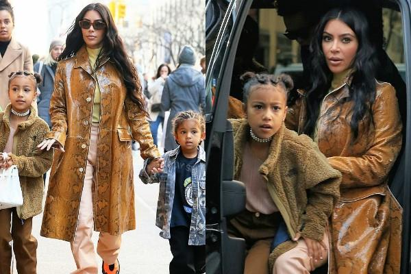 kim kardashian outing with the kids at newyork