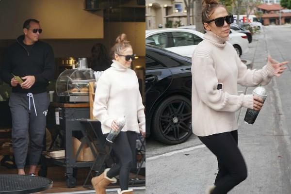 jennifer lopez spotted outside the coffee shop with alex rodriguez