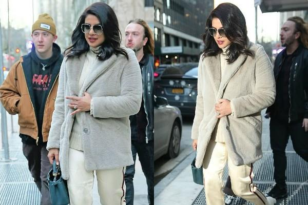 priyanka chopra spotted outside the new york hotel with brother in law frankie