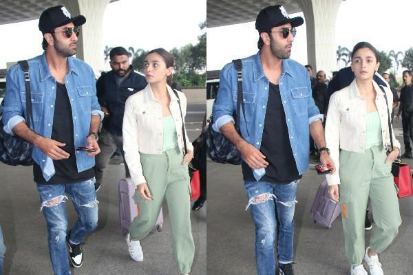 alia bhatt and ranbir kapoor spotted at airport