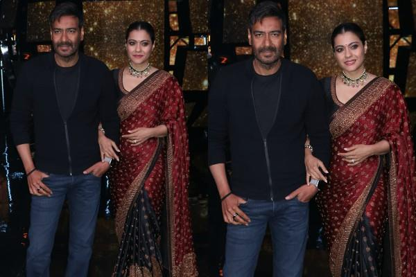 kajol and ajay devgan spotted at indian idol set for film promotion