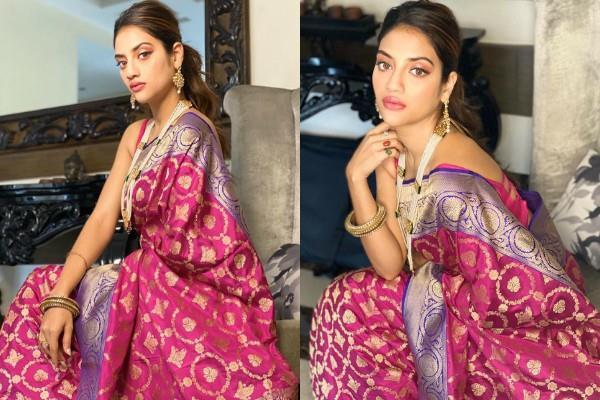 nusrat jahan shares photos in saree look