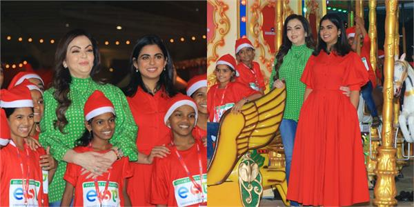 isha and nita ambani celebrate christmas with 4000 children at jio wonderland
