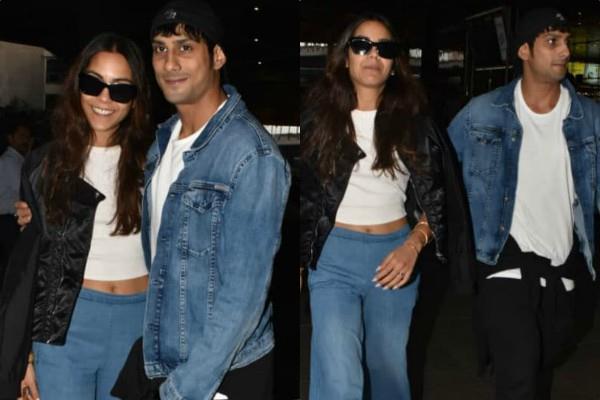 prateik babbar sanya sagar spotted at mumbai airport