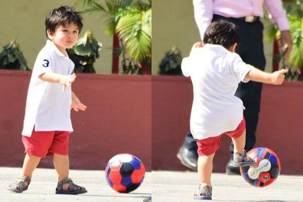 taimur ali khan is playing football with caretaker