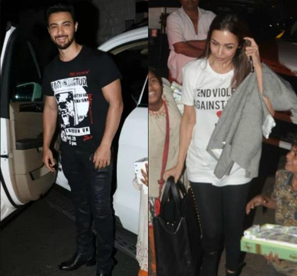 malaika arora with aayush sharma at dinner